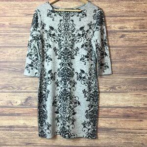 Vine Print Black Grey Knit Long 3/4 Sleeve Dress